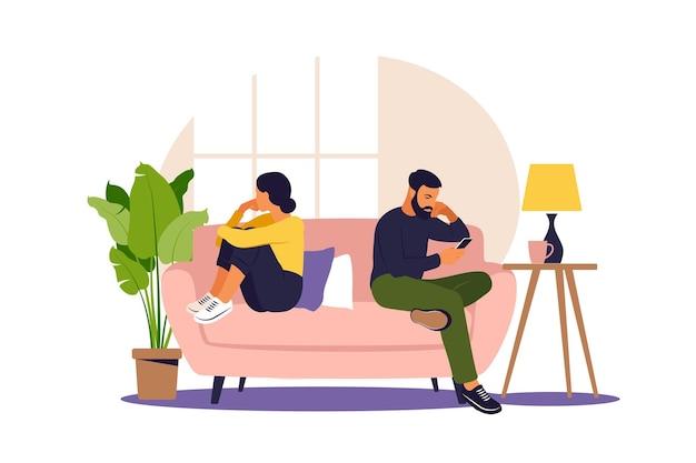 Mężczyzna i kobieta w kłótni. konflikty między mężem a żoną. dwie postacie siedzące plecami do siebie, niezgoda, kłopoty w związku. wektor.