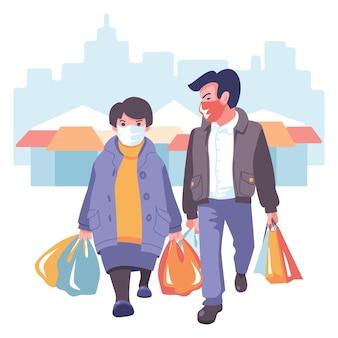 Mężczyzna i kobieta w maskach idą na zakupy