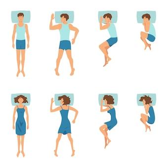Mężczyzna i kobieta w pozach do spania. ilustracje z relaksującymi pozycjami z góry