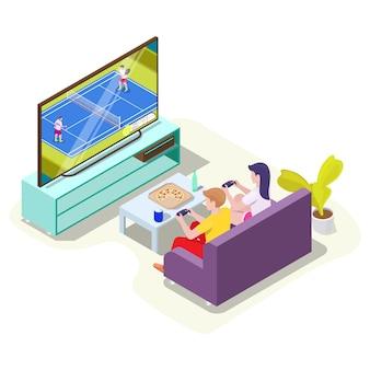 Mężczyzna i kobieta w słuchawkach grając w tenisa gra wideo na telewizorze izometryczny ilustracja wektorowa gra online...