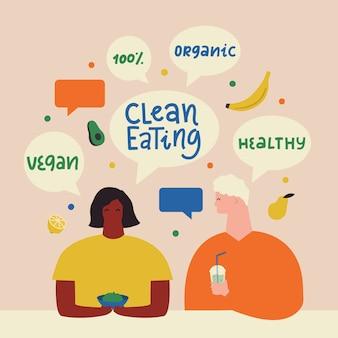 Mężczyzna i kobieta z czystym / zdrowym wegańskim jedzeniem. koncepcja stylu życia ekologicznego. projektowanie postaci.