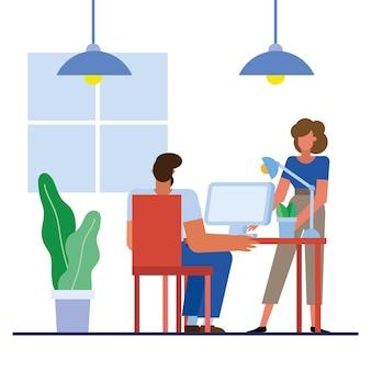 Mężczyzna i kobieta z komputerem przy biurku w biurze projektowania, siły roboczej obiektów biznesowych i motyw korporacyjny
