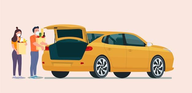 Mężczyzna i kobieta z maską na twarz, trzymając torby z zakupami obok bagażnika samochodu sedan. ilustracja płaski.