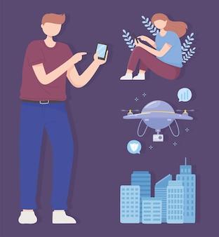 Mężczyzna i kobieta z mobilnym dronem inteligentnym miastem, ilustracja technologii bezprzewodowej sieci 5g
