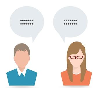 Mężczyzna i kobieta z mową