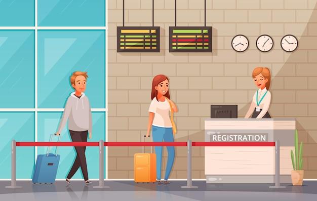 Mężczyzna i kobieta z walizkami w pobliżu punktu rejestracji na lotnisku