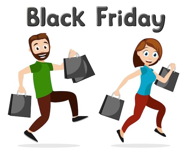 Mężczyzna i kobieta z zakupami na białym tle. czarny piątek