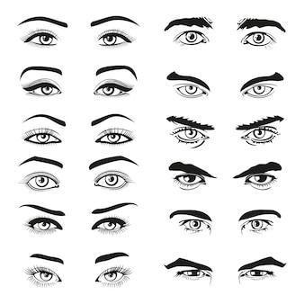 Mężczyzna i kobieta zestaw oczu i brwi