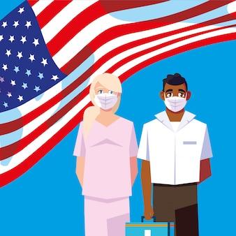 Mężczyzna i kobiety lekarki z mundurami i maskami z usa flaga wektorowym projektem