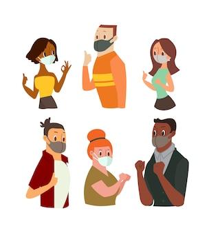 Mężczyzna i kobiety noszący maskę na twarzy, wskazujący znak ok, pokazujący kciuk w górę ilustracja kreskówka