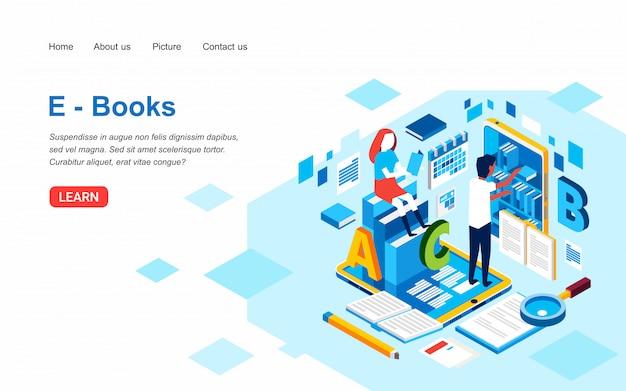 Mężczyzna i kobiety szukają książek w bibliotece cyfrowej. szablon strony docelowej e-booków