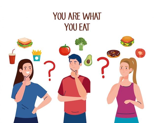 Mężczyzna i kobiety zastanawiają się, co jeść