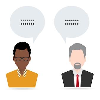 Mężczyzna i mężczyzna z mową