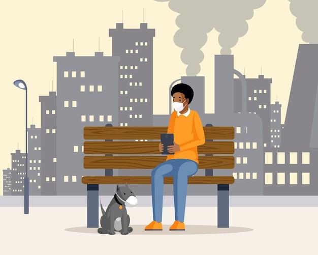 Mężczyzna i pies w respiratorach ilustracyjnych. amerykanina afrykańskiego pochodzenia faceta obsiadanie na ławce w zanieczyszczonym przemysłowym miasta postać z kreskówki z fabryką na tle. zanieczyszczenia powietrza w miastach, rośliny emitujące smog