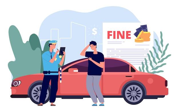 Mężczyzna i policjant. policjant wypisuje mandat, wykroczenia drogowe i niewłaściwe parkowanie. zdezorientowany chłopiec kierowca na czerwonym samochodzie sportowym. straty finansowe, grzywny za prowadzenie ilustracji wektorowych.