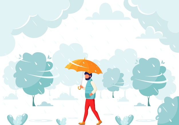 Mężczyzna idący pod parasolem podczas deszczu. jesienny deszcz. jesienne zajęcia na świeżym powietrzu.