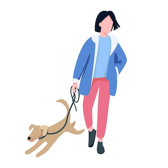 Mężczyzna idący z psem bez twarzy w płaskim kolorze. właściciel zwierzaka, miłośnik psów spacerujący z figlarnym szczeniakiem na zewnątrz ilustracja kreskówka na białym tle do projektowania graficznego i animacji internetowej