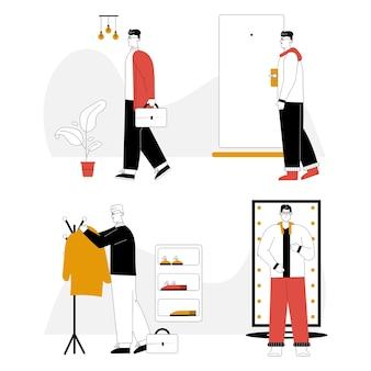 Mężczyzna idzie do pracy w garniturze z teczką, wiesza płaszcz na wieszaku na odzież wierzchnią, w domu przebiera się w wygodny strój.