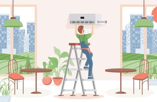 Mężczyzna instaluje klimatyzator w płaskiej ilustracji restauracji lub kawiarni. konserwacja i montaż układów chłodzenia, wymiana filtrów. kontrola klimatu, koncepcja komfortowego życia.