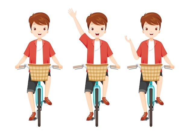 Mężczyzna jazda rowerem z przednim koszem w różnych akcjach