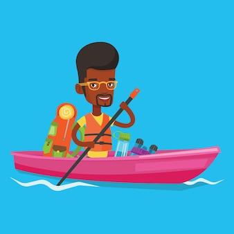 Mężczyzna jazda w kajak ilustraci.