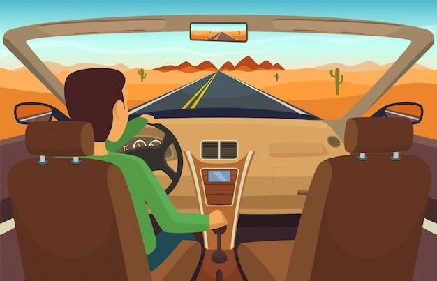 Mężczyzna jazdy samochodem. kabriolet wewnątrz transportu, człowiek w pojeździe