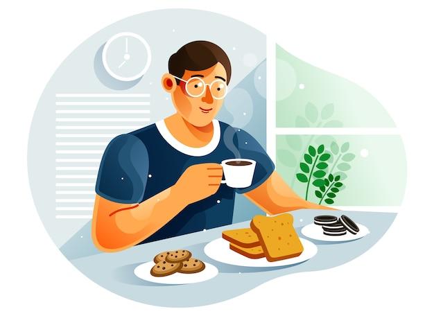 Mężczyzna jedzący śniadanie w domu