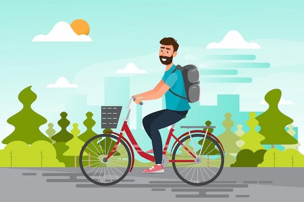 Mężczyzna jedzie bicykl do biura