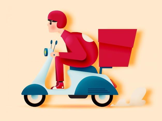 Mężczyzna jedzie motocyklem skuter dla firmy kurierskiej