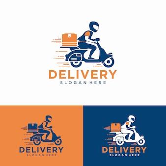Mężczyzna jedzie na hulajnodze. logo dostawy