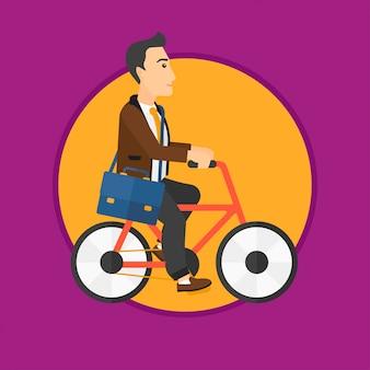 Mężczyzna jedzie na rowerze.