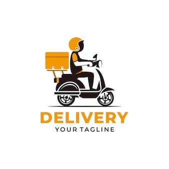 Mężczyzna jedzie na skuterze. logo dostawy