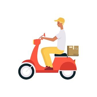 Mężczyzna jedzie na skuterze lub motocyklu i wysyła styl kreskówki brązowego pudełka