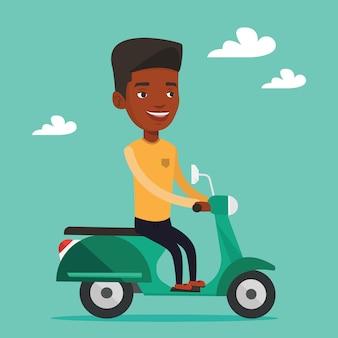 Mężczyzna jedzie na skuterze.