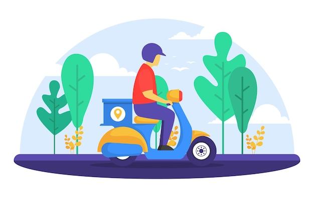 Mężczyzna jedzie skuter motocykl ekspresowa usługa dostawy wysyłka żywności