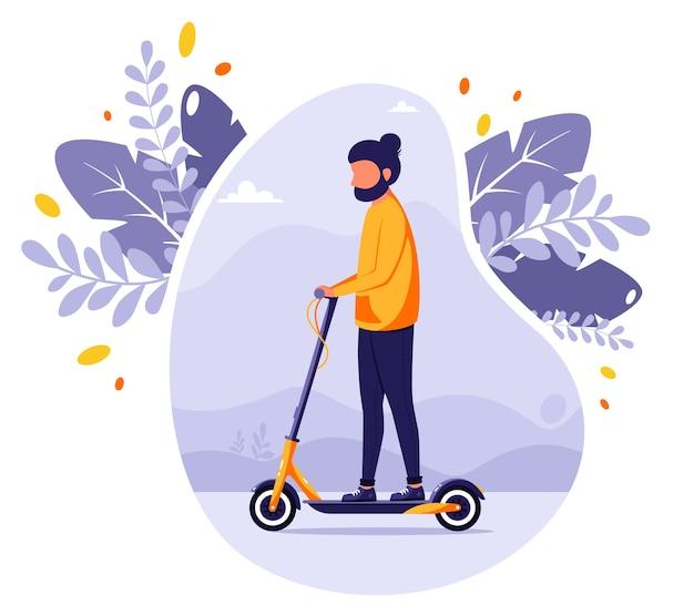 Mężczyzna jedzie skuterem elektrycznym. nowoczesny transport ekologiczny. pojazd miejski. ilustracja w stylu płaski.