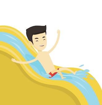 Mężczyzna jedzie w dół zjeżdżalni wodnej ilustrację.