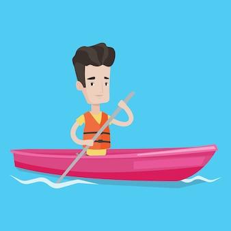Mężczyzna jedzie w kajaka wektoru ilustraci.