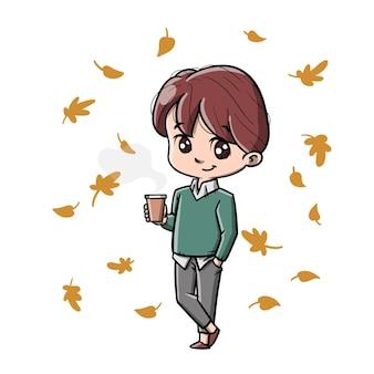 Mężczyzna jesienią słodkie kreskówki