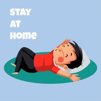 Mężczyzna jest relaksujący podczas pobytu w domu