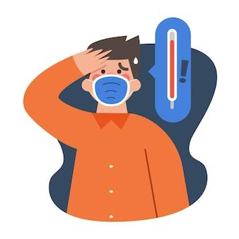 Mężczyzna jest ubranym medyczną maskę ma gorączkę