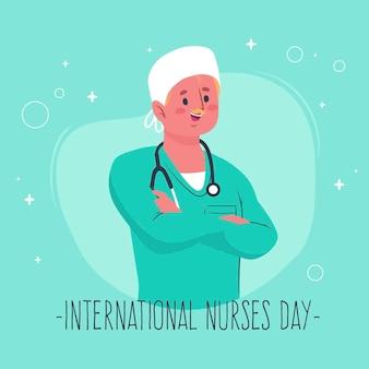 Mężczyzna jest ubranym stetoskop międzynarodowych pielęgniarek dzień