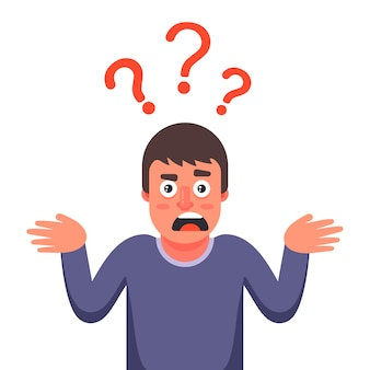 Mężczyzna jest zaskoczony i nie zna odpowiedzi na pytanie. ilustracja postaci.