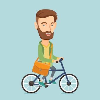 Mężczyzna jeździecki rowerowa wektorowa ilustracja.