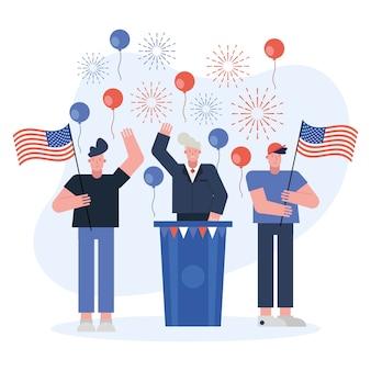 Mężczyzna kandydat daje przemówienie dzień wyborów wektor ilustracja projekt