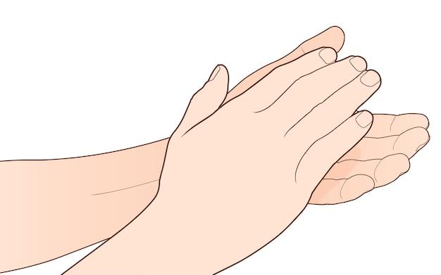Mężczyzna klaskanie ręce, oklaski na białym tle