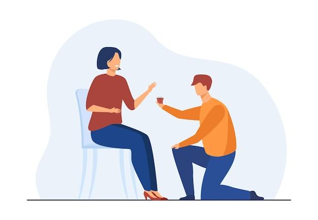 Mężczyzna klęczy na jednym kolanie i daje kobiecie mały prezent. chłopak proponuje dziewczynę. ilustracja kreskówka