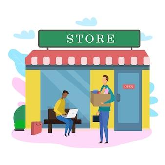 Mężczyzna klienta z torbą na produkty spożywcze poza sklepem