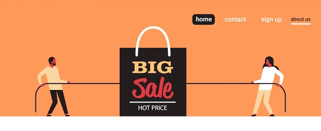 Mężczyzna kobieta ciągnąc przeciwne końce lina torba na zakupy duża sprzedaż czarny piątek super sprzedaż promocja wakacje rabat koncepcja przeciąganie liny