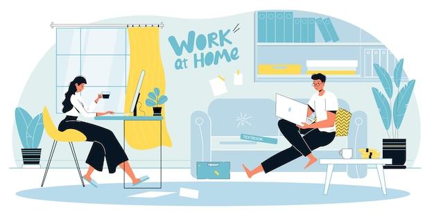 Mężczyzna kobieta rodzina para cieszyć się pracą zdalną